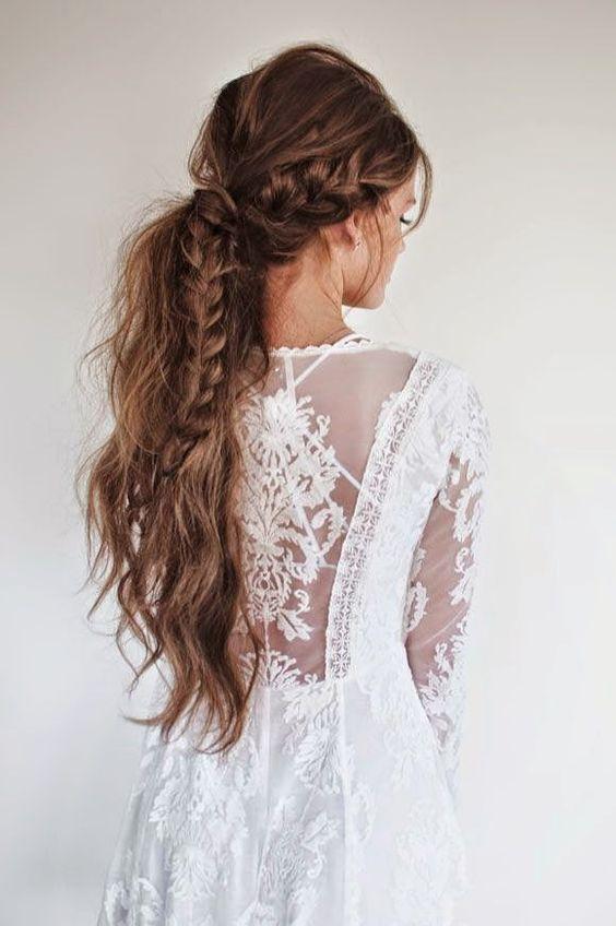 acconciatura braided ponytail